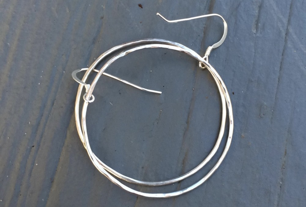 Hammered Sterling Silver Hoop Earrings custom made and inspired by the beach!
