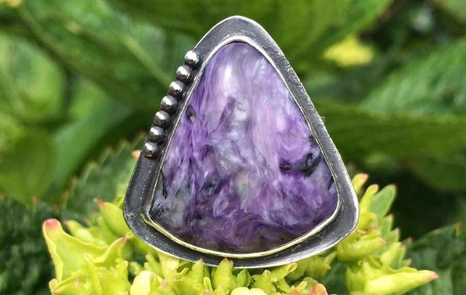 Charoite Ring with Gorgeous Marbling