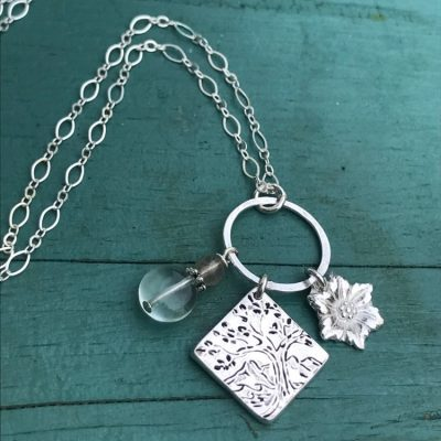 Shaped Tree and Mountain Charm Necklace