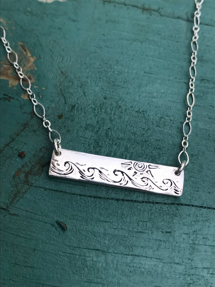 Sun and Sea Fine Silver Bar Necklace made from Recycled Fine Silver