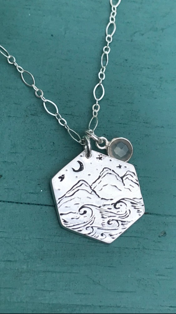 Hand Etched Mountain Crescent Necklace Custom Made Jewelry on the Outer Banks