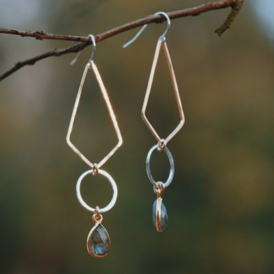 Mixed metal earrings, Sterling and 14kt Gold Filled are accented with a teardrop of Labradorite are beautiful complement to any outfit!
