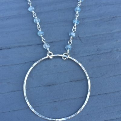 Sterling Silver Circle of Friends Necklace with faceted blue topaz beaded chain Custom made