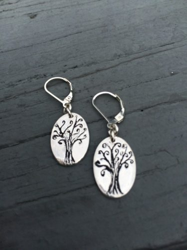 Fine Silver whimsical tree earrings, hand etched and oxidized. These one of a kind earrings are finished securely on lever back findings. Each pair will be slightly different since each one are made completely by hand.