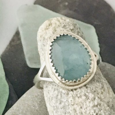 Custom Made Fine Silver March Birth Stone Aquamarine Ring
