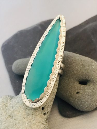 Peacock Chalcedony Talon Ring - Custom made from Fine Silver for you and Inspired by the Sea
