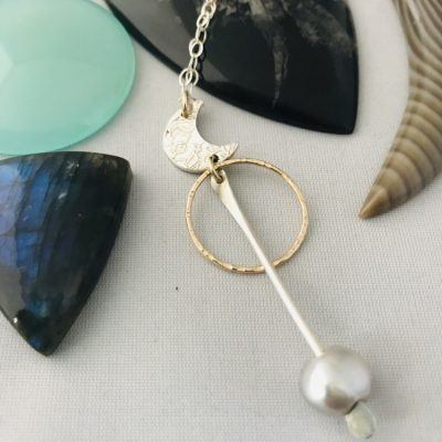 Fine Silver Crescent Moon Necklace with freshwater Pearl custom made from the Ocean by the Ocean