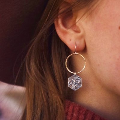 A single Fine Silver hexagon dangles from this Hammered 14kt Gold these are truly one of a kind!