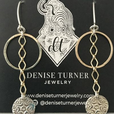 Two-Tone Drop Dangle Earrings, Fine Silver Star Coin and 14kt Gold Filled Hammered Circles make up these fun and funky earrings. These are finished with a sterling silver v shaped ear wire.