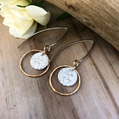 Mixed Metal Earrings, 14kt Gold and Sterling Silver, with Fine Silver starburst discs. These are finished with long V shaped Sterling Earwires.