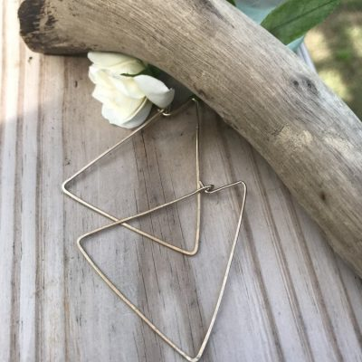 Gold Triangle Earrings these are perfect to take the place of typical large hoops