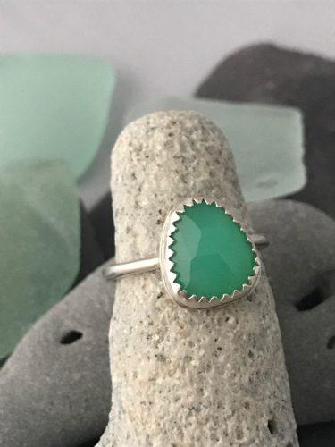 Custom Built Fine Silver Green Chrysoprase Ring
