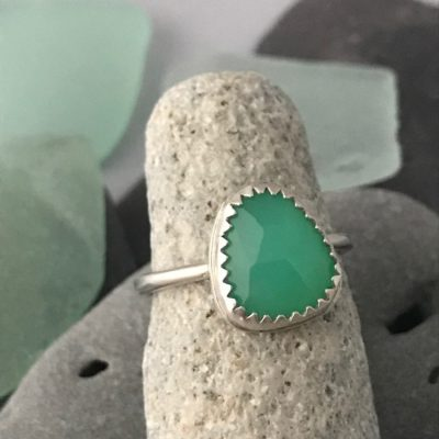 Custom Built Fine Silver Green Chrysoprase Ring