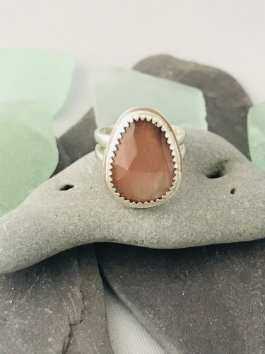 Oregon Sunstone Ring is crafted from Fine Silver - inspired by the Ocean!