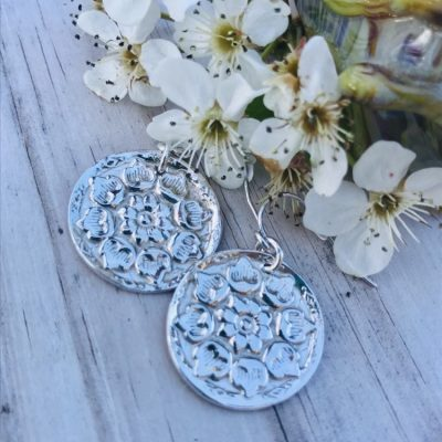 Fine Silver Flower Coin Earring on Sterling Silver French Hoop Ear wires perfect from day to night!
