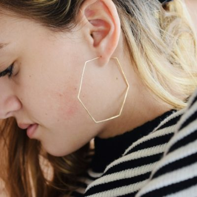 Gold Hex Earrings custom made and 14kt gold these earrings are so cute!
