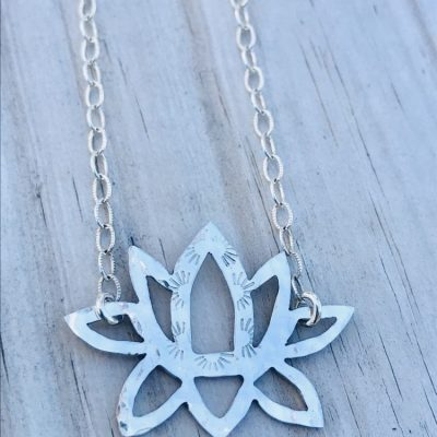 Custom made Sterling Silver Lotus Necklace on the Outer Banks