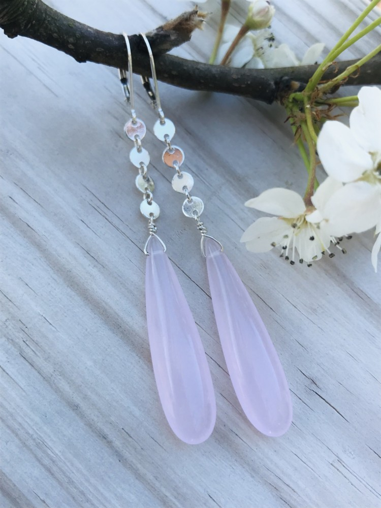 Long Rose Quartz Drop Earrings with Sterling Silver Coin chain, dangling from a pair of sterling leverback earwires.