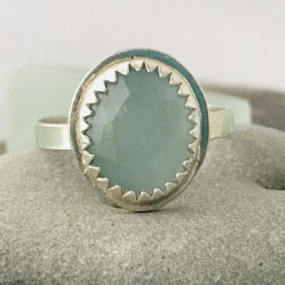 Petite Aquamarine Ring Custom Crafted from Fine Silver - my inspiration was Sea Glass!