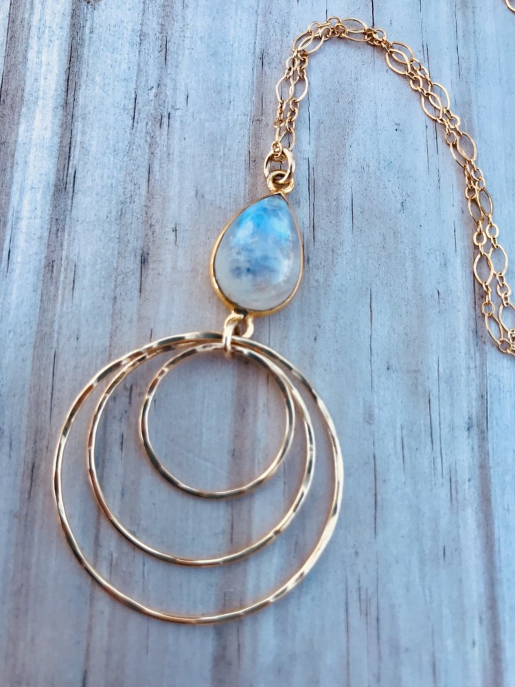 Rainbow Moonstone TRI Necklace Hand Crafted Fine Jewelry