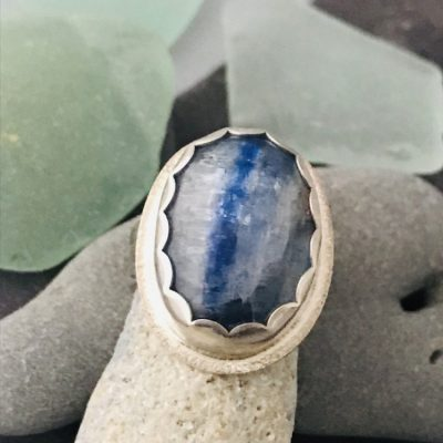Kyanite Oval Ring set in Sterling and Fine Silvers custom made for you by the beach!