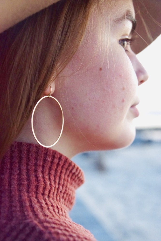 14kt Gold Filled Hammered Hoop Earrings are the perfect contemporary piece to go with any outfit!