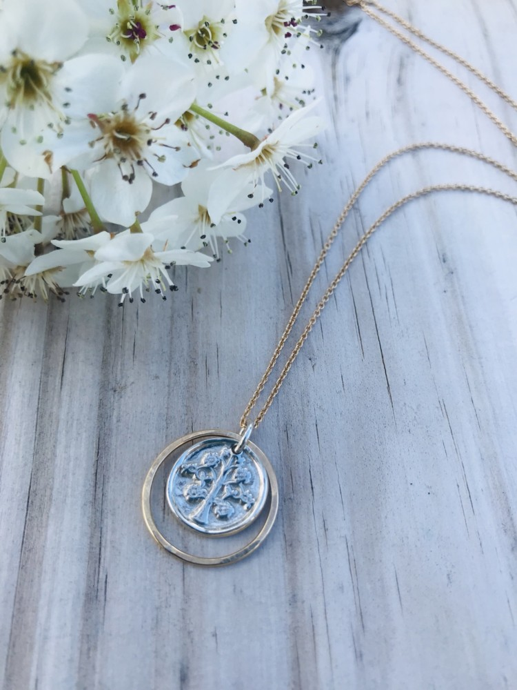 Mixed metal Cicle of Friends and Tree of Life Necklace, 14kt Gold Filled Custom Made Jewerly on the Outer Banks