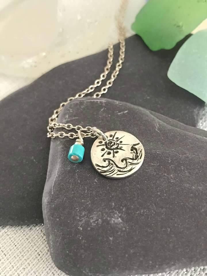 Sun and Sea Necklace Custom made Fine Jewelry