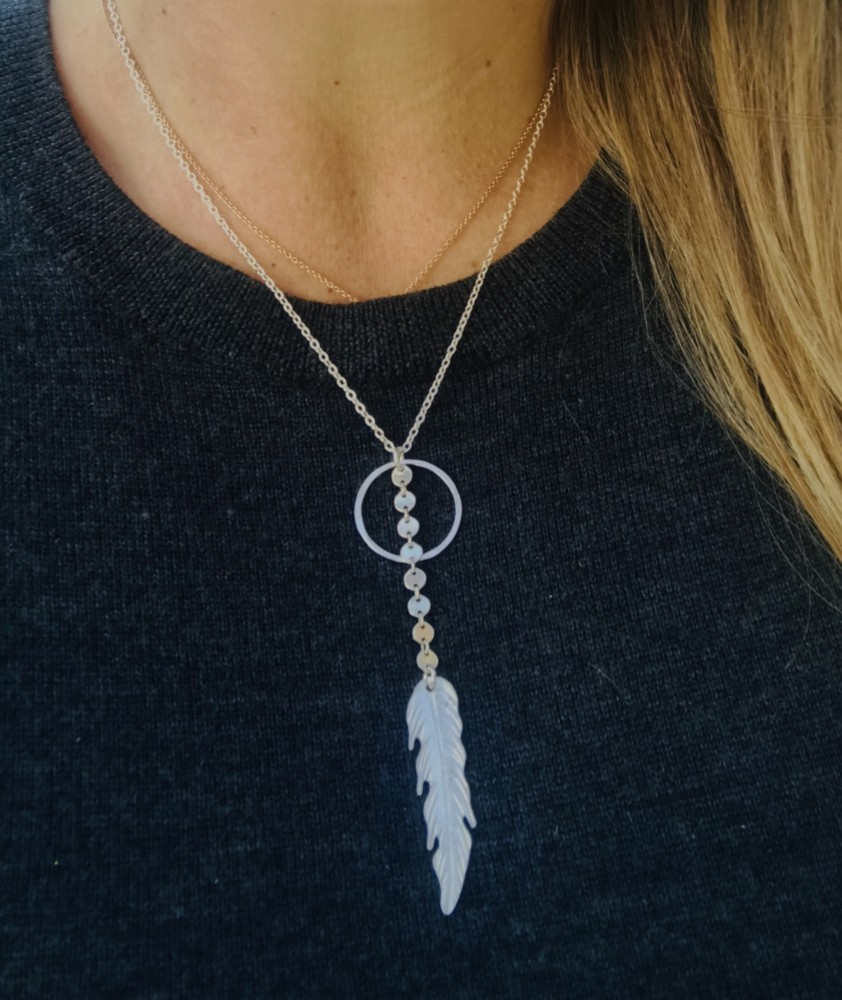 Sterling Silver Feather and Circle Drop Down Necklace Custom Made Jewelry on the OBX