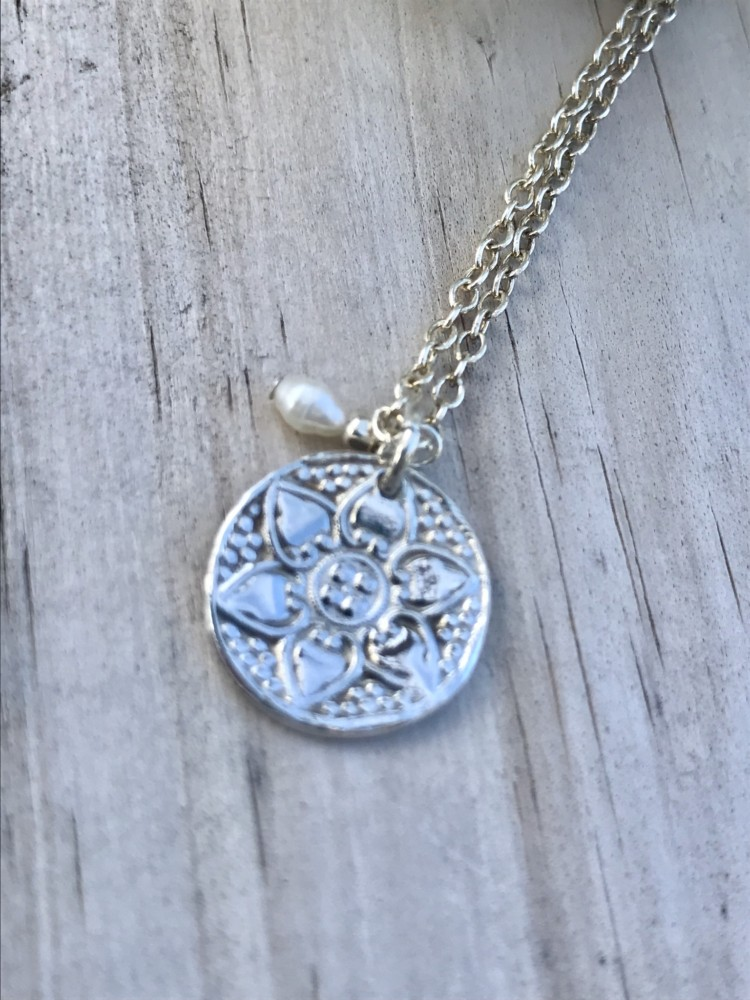 Custom Made Fine Sterling Silver Flower Coin Necklace