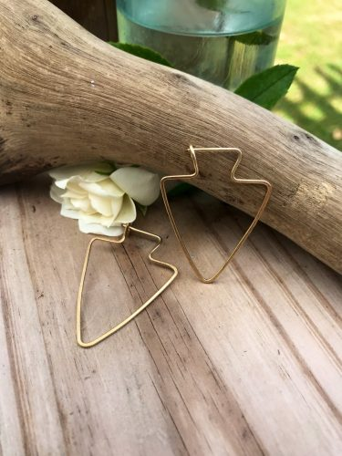 Petite 14kt Gold Arrowhead Earrings, lightweight and barely there, A great size for a more conservative jewelry lover.