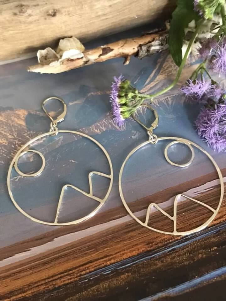 Sterling Silver Handcrafted Rise Mountain Hoop Earrings. Let the Sunrise or the Moonrise forever be on your peaks. These earrings are made to order and are approx. 40mm