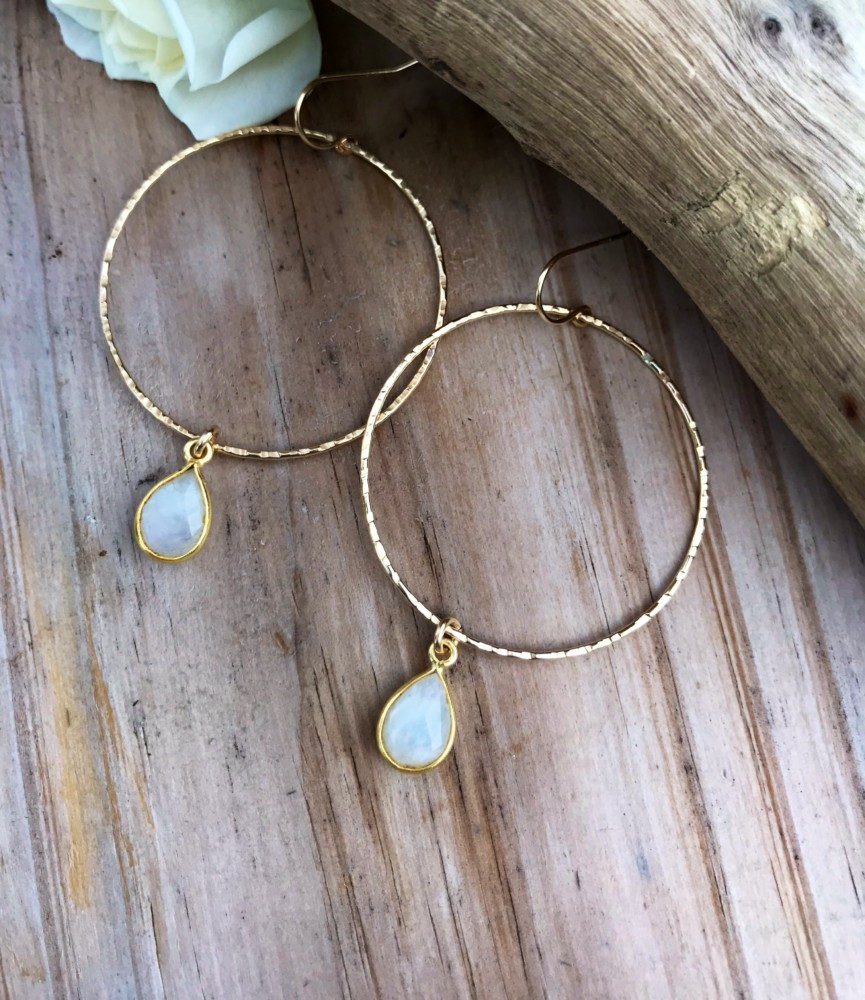 Gold Moonstone hoops that are handcrafted and inspired by the ocean