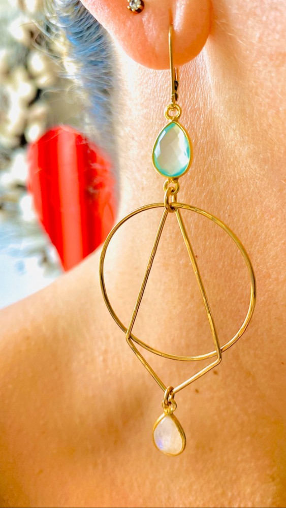 Shop dual stone geometric earrings