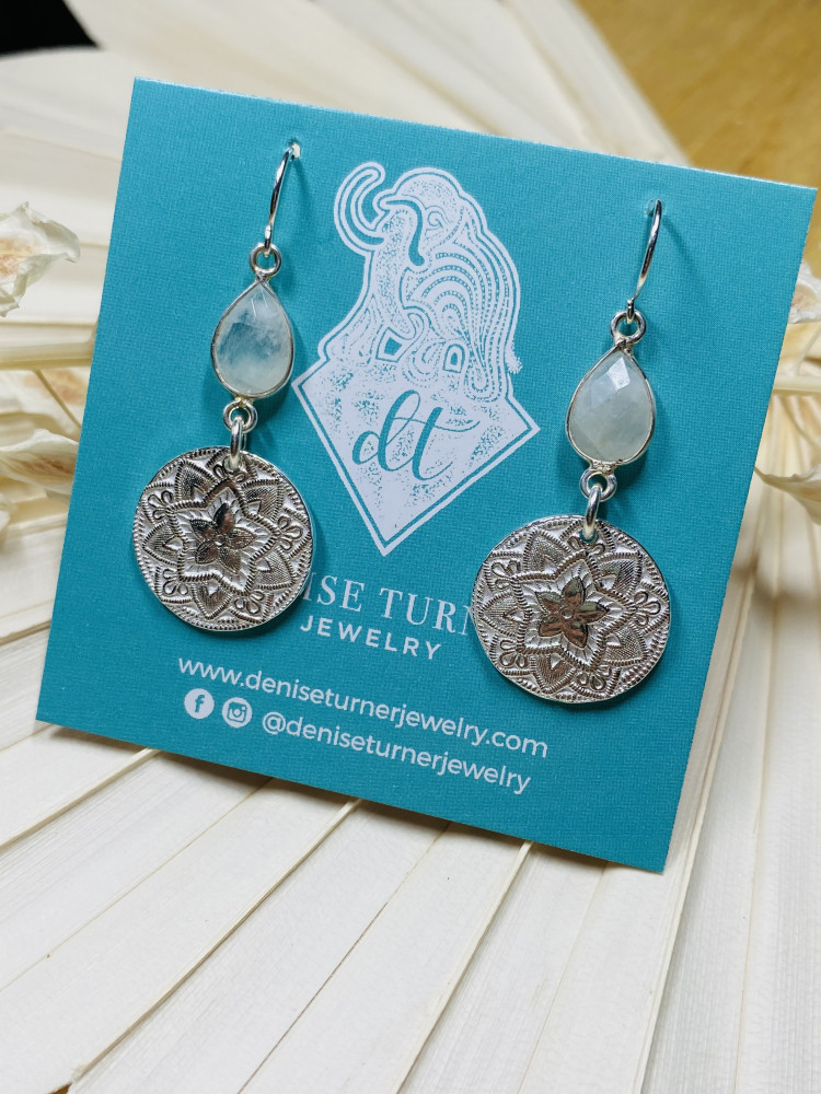 Moonstone mandala earrings