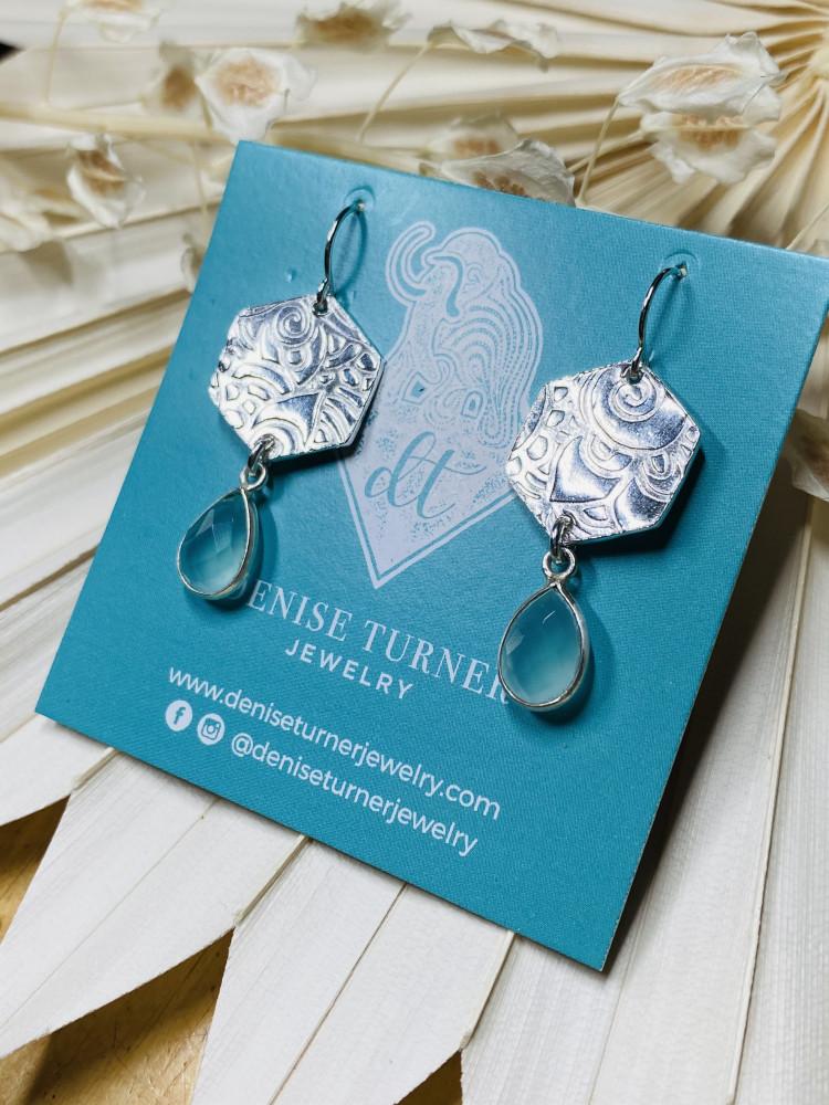 Blue Chalcedony Hexagon earrings
